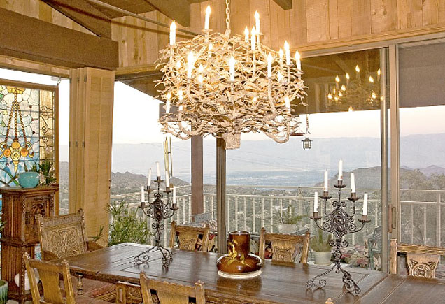 Frank Sinatra's dining room at Villa Maggio, with a beautiful view of the mountains over Palm Springs.